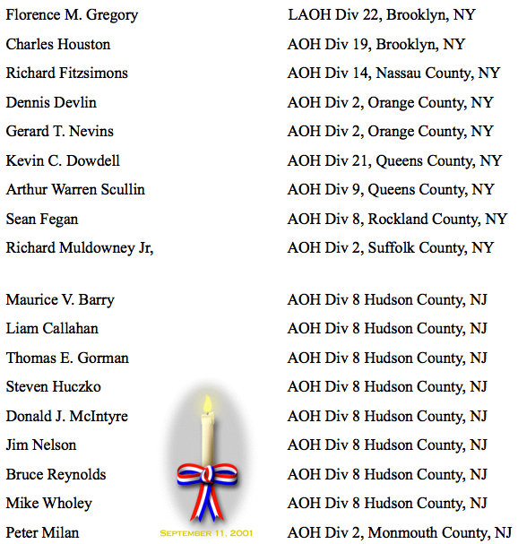 Hibernians Killed on 9:11