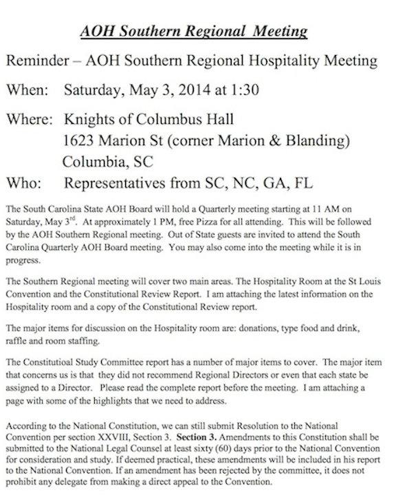 AOH Southern Regional  Meeting
