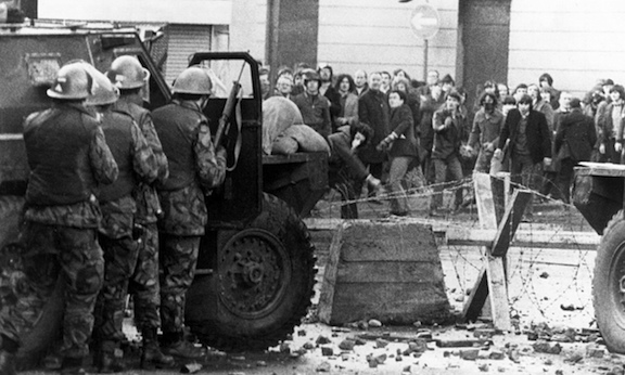 Bloody Sunday: soldiers and demonstrators